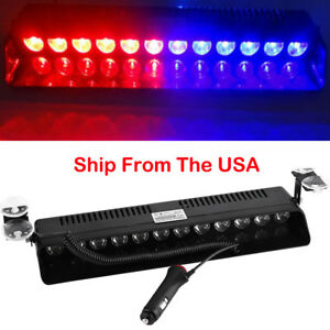 Red Blue 12 Led Warning Visor Strobe Light Windshield Dash Flash Emergency Lamps