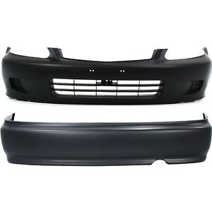 Front Rear Bumper Cover Set For 1999 2000 Honda Civic Primed Plastic 2 pcs