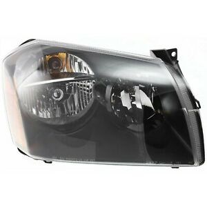 Headlight For 2005 2006 2007 Dodge Magnum Right Black Housing With Bulb