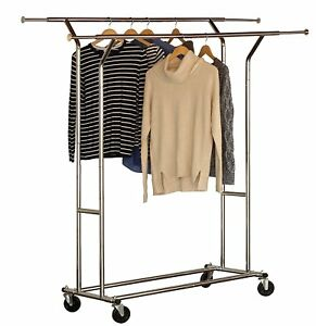 Clothes Display Rack Commercial Grade Double Rail Rolling Garment Organizer New