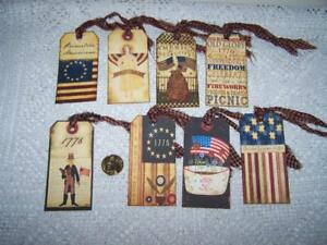 Primitive 4th Of July Americana Linen Cardstock Gift Hang Tags