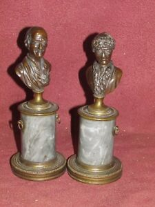 Pair Antique Bronze And Marble Sculpture Busts Possibly Russian