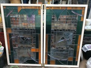 Beautiful Pair Of Stained Glass Windows Cabinet Doors