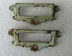 2 Antique Victorian Cast Iron Label Style Bin Apothecary File Drawer Pulls