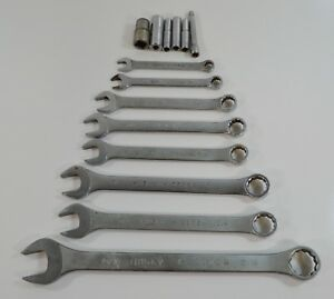 Lot Of 8 Vintage Husky Combination Wrenches 6 Sockets Standard Sae Old Logo