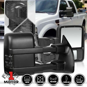 pair Power heated Led Signal Towing Side Mirror For 99 07 Ford F250 Super Duty