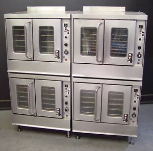 Two Commercial Double Stack Nat Gas Convection Ovens Full Size Bakery Depth