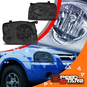 2pcs Smoked Housing Clear Side Headlight lamps Lh rh For 01 04 Nissan Frontier