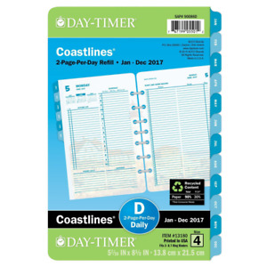 Day timer Daily Planner Refill 2017 Two Page Per Day Loose Leaf 5 7 16