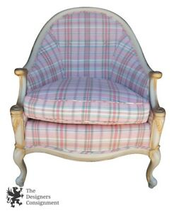 Bassett Cartier Collection French Provincial Bisque Club Chair Pink Plaid Wing