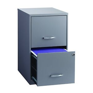 Gray Metal File Cabinet 18in Deep 2 Drawer Storage Home Office Document Lockable