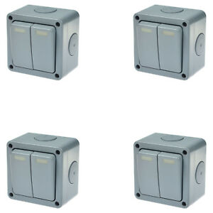 4pk Waterproof Power Dual Switch Panel Junction Box Garden Outdoor Case Ip66 10a