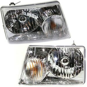 Headlight Set For 2001 2011 Ford Ranger Left And Right With Bulb Capa 2pc