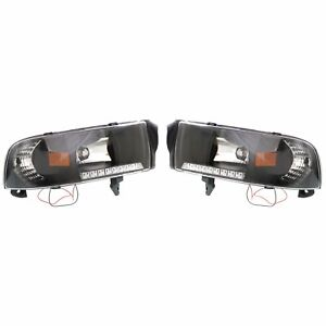 Styleline Headlight For 94 2001 Dodge Ram 1500 Left And Right Black Housing 2pc