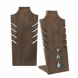 Set Of 2 Natural Wood Multiple Necklace Bust Display Stand Brown Holds New