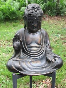 Fine And Large Antique Japanese Bronze Buddha Sculpture Signed