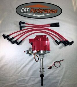 Chevy Inline 6 Straight 6 194 230 250 292 Hei Distributor Red Spark Plug Wires