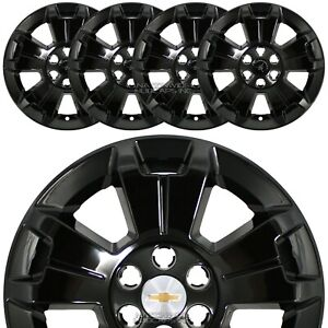 4 Black 2015 2019 Colorado Lt 17 Wheel Skins Hub Caps Full Alloy Rim Covers New