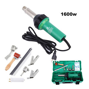 1600w Hot Air Torch Plastic Welder Heat Gun Pistol 5 Nozzle Rods W Protect Case