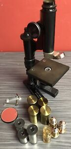 Leica Ernst Leitz Wetzlar Brass Microscope With 3 Optics And Lots Of Extras
