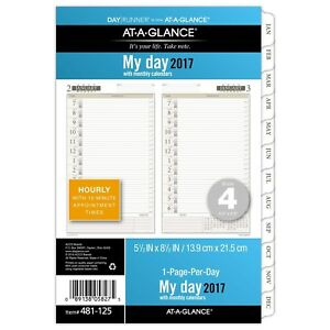 Day Runner Daily Monthly Planner Refill 2017 1 Page per day 5 1 2 X 8 New
