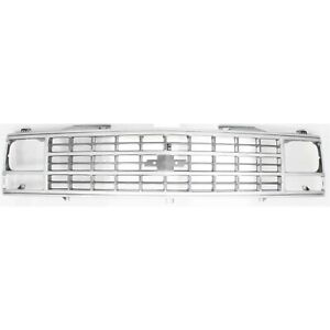 Radiator Grille Silver For 88 93 Chevy Pickup Models W Single H Lamps Excl Wt