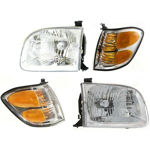 Headlight Kit For 2001 2004 Toyota Sequoia Left And Right 4pc