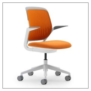 Steelcase Cobi Orange Chair With Upgraded Wheels For Wood Flooring