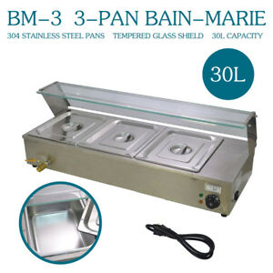 Top 3 pan 36 Food Warmer Bain Marie 110v Steam Table Steamer Counter Top