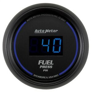 Autometer 6963 Cobalt Digital Fuel Pressure Gauge Black Blue Led 2 1 16