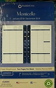 Franklin Covey Classic Monticello Dated Two page Per Week Planner Refill New