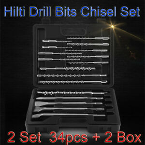 2 Box Rotary Hammer Drill Sds Plus Bit Bits Chisel Set Concrete Fits Hilti