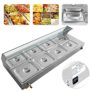 8 pan Bain marie Buffet Steam Table Restaurant Food Warmer 110v New
