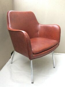 Mid Century Modern Lounge Tub Barrel Chair High Quality Chrome Legs Mad Men