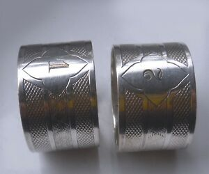 Pair Vintage Art Deco Machine Turned Silver Plated Napkin Rings 1