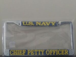 U S Navy Chief Petty Officer Raised Letters Chrome License Plate Frame