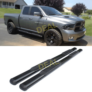 2pcs 4 Oval Blk Side Step Nerf Bars Fit 09 18 Dodge Ram 1500 Quad extended Cab