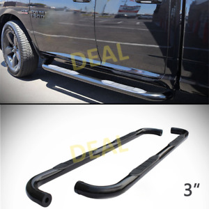 2pcs 3 Round Blk Side Step Nerf Bar Fit 09 18 Ram 1500 10 18 2500 3500 Crew Cab