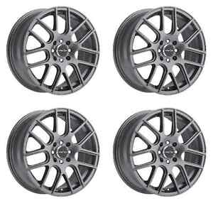 Set 4 16 5 Lug Vision Cross Wheels Gun Metal Fits Honda Toyota Kia Ford 5x4 5