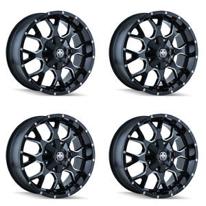 Set 4 20 6 Lug Mayhem Warrior Wheels Black Milled Fits Ford Chevy Trucks 6x5 5
