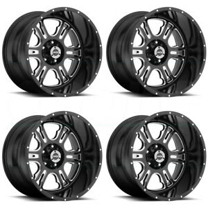 17x9 Vision 397 Rage 8x6 5 8x165 1 12 Black Milled Wheels Rims Set 4