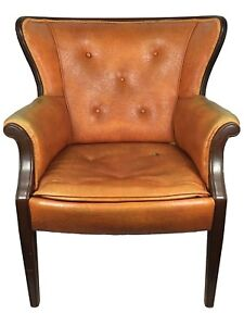Vintage Leather Wingback Armchair Wooden Mcm Office Fireside Aged Orange Yellow