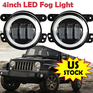 For 2017 Jeep Grand Cherokee 4 Inch Led Foglight Halo Bumper Fog Light Bulb Drl