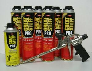 Great Stuff Pro 6pcs Gaps And Cracks 24oz Gun Foam W Dispensing Gun And Cleaner