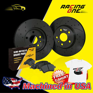 Racing One Rear Black Drilled Slotted Brake Rotor metallic Pad Fit Nissan 300zx