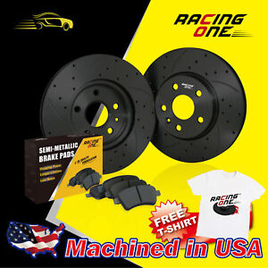 Racing One Front Black Drilled Slotted Brake Rotor Metallic Pad Fit Civic Crx
