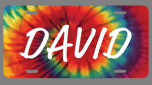 David Name Tie Dye Style License Plate Tag Vanity Novelty 6 By 12 Inches