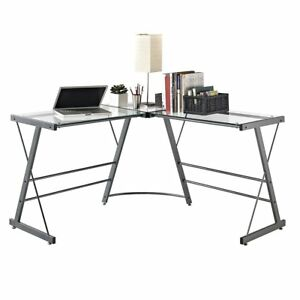 Gray Glass Top Corner Desk Home Office Work L Shape Computer Metal Frame Table