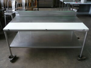 Used Stainless Steel Poly top Table 6 X 36