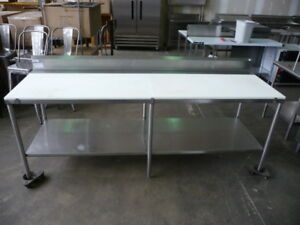 Used Stainless Steel Poly top Table 8 X 30